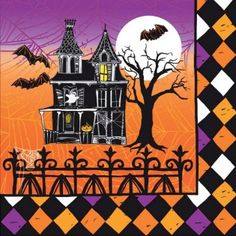 Haunted Halloween Lunch Napkins - Halloween - Holidays PlatesAndNapkins.com #halloween #partysupplies