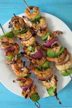 Grilled Cajun Shrimp  - A spicy, southern style grilled shrimp kabob served with thick spicy red beans and rice.
