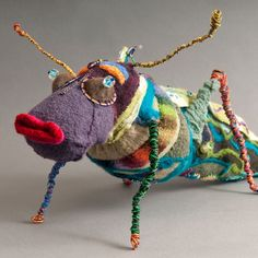 """Jump"" Felt and Mixed Media Cricket Sculpture"