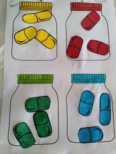 Pilletjes sorteren volgens kleur. 4 verschillende kleuren. *Liestr* Kindergarten, Preschool Classroom, Preschool Activities, Safety Crafts, Art Worksheets, Spring Crafts For Kids, Community Helpers, Thanksgiving Crafts, Health Education