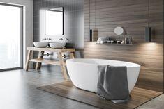 Łazienka – beton, drewno, czyli jak zaaranżować małą łazienkę? - Bathroom Tile Designs, Bathroom Images, Modern Bathroom, Coral Home Decor, New Interior Design, Vinyl Tiles, New Living Room, Bathroom Flooring, Malaga