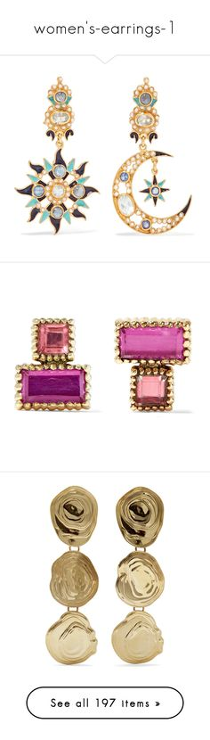 """""""women's-earrings-1"""" by didi-oliveira ❤ liked on Polyvore featuring jewelry, earrings, gold plated jewellery, hand crafted jewelry, multi stone earrings, heart jewellery, clasp earrings, pink, quartz and 14 karat gold earrings"""