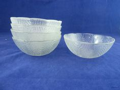 "Leaf Design Clear Glass Salad Bowls Set of 5 - 5 1/2"" diameter picclick.com"
