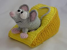 Amigurumi Crochet Manfred the Mouse toy doll rattles