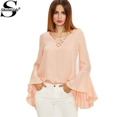 Shop Pink Crisscross V Neck Bell Sleeve Split Back Blouse online. SheIn offers Pink Crisscross V Neck Bell Sleeve Split Back Blouse & more to fit your fashionable needs. Chiffon Cardigan, Chiffon Shawl, Bell Sleeve Blouse, Bell Sleeves, Collar Blouse, Fashion Outfits, Fashion Trends, Blouses For Women, Casual