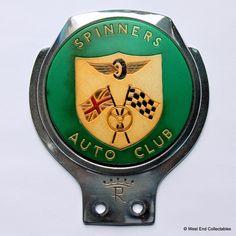 Vintage RENAMEL Car Badge - Spinners Auto Club - Classic Emblem Grille Mascot