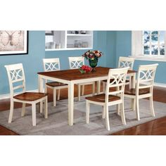 Furniture of America Seaberg Country White 7 Piece Dining Set