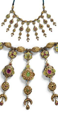 Morocco ~ Fez | 'Lebba' ~ necklace; gold set with emeralds, amethysts and other precious stones. Enamelled and engraved in floral motifs, including the back of the necklace | ca. 18th century | 34'850€ ~ sold (Apr '11)