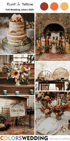 Rust & Yellow Wedding: mismatched bridesmaid dresses, naked wedding cake, bridal bouquet, wooden table and chairs, welcome sign. Pink Wedding Colors, Blush Pink Weddings, Wedding Color Schemes, Mustard Wedding Colors, Burnt Orange Weddings, Rustic Wedding Colors, Wedding Colors For Fall, September Weddings, September Wedding Colors