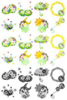 フリーのアイコン素材小さな花の雑貨 / The cute icons of small flowers  ダウンロードはこちらから  The downloading from this.
