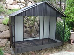 Custom Built Aviaries Large Balck Powdercoated with ventiallation ports