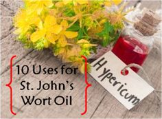 10 Uses For St. John's Wort Oil.  here is a simple video explanation for making it yourself! http://m.youtube.com/watch?v=qxW2LogQeSk