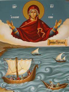 """ΜΡ.ΘΥ__Παναγία """" η Θαλασσινη"""" Byzantine Icons, Byzantine Art, Blessed Mother Mary, Blessed Virgin Mary, Religious Icons, Religious Art, Orthodox Catholic, Greek Icons, Russian Icons"""