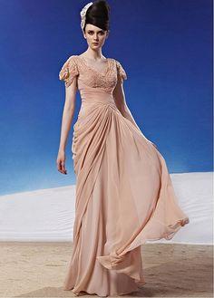 In Stock Fashionable A-line V-neck Inverted V Waist Short Sleeves Ruched Long Formal Dress