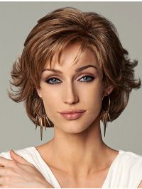 Synthetic Wigs, Medium Wigs, Lace Front Wigs, Monofilament Wigs, Sleek Layered Auburn Lace Front Wigs