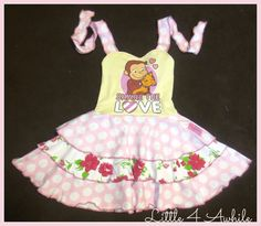Curious George Upcycle Sweetheart Triple Circle Skirt Dress by Little 4 Awhile.  Love it.  www.facebook.com/groups/little4awhile