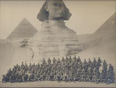 World War One photograph of British soldier group in front of the Sphinx, Egypt. Circa 1914/1918.