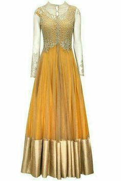 Mustard anarkali with gold zardozi and pearl embroidered jacket by Ridhima Bhasin. i would reduce gold a bit from the bottom lace. Anarkali Dress, Pakistani Dresses, Indian Dresses, Indian Outfits, Lehenga, Western Dresses, India Fashion, Ethnic Fashion, Indian Attire