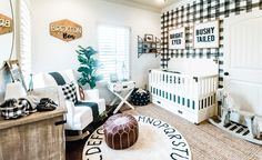 We are falling hard for the black and white + natural (think wood, plants and leather) color palette in this baby boy nursery from Ashlee Nichols. Baby Nursery Furniture, Baby Nursery Decor, Project Nursery, Nursery Themes, Baby Decor, Nursery Ideas, Plaid Nursery, White Nursery, Nursery Neutral