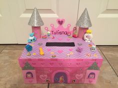 Bought the castle box set from Target and added some shopkins stickers and Shopkin figures. Valentine Day Boxes, Valentine Crafts For Kids, Valentines Day Party, Shopkins Valentines, Diy For Girls, Projects For Kids, Target, Castle, Stickers