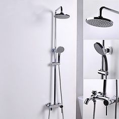 Contemporary Style Chrome Finish Ceramic Valve Shower Faucets – USD $ 261.99