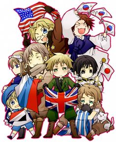 Hetalia flags - America, S. Korea, Belarus, Russia, UK, Japan, Sealand, and Greece