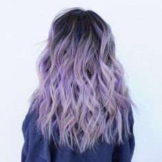 Purple is the new black ! We looove this lilac hair color by @lo.reeeann  ! The dark roots totally made this look have an edgier feel . #hairoftheday #purplehair