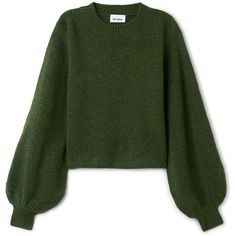 Letiza sweater (235 RON) ❤ liked on Polyvore featuring tops, sweaters, long sleeves, sweatshirt, short sweater, green sweater, boxy tops, ribbed crew neck sweater and green top