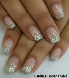 Nägel Ideen - Pastell 20 best models of wedding nails page 1 nails Wedd Wedding Nails For Bride, Bride Nails, Wedding Nails Design, Bridal Nails Designs, Cute Acrylic Nails, Cute Nails, Pretty Nails, Glitter French Nails, Acrylic Gel