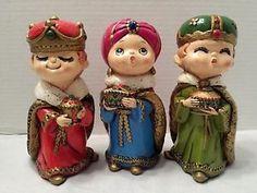 Vintage Children Three Wise Men figurines