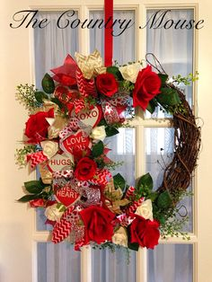 Valentine's Wreath #wreath #valentines #valentinesday #crafting #grapevine Valentine Wreath, Valentines Day, Love Hug, Grape Vines, Christmas Wreaths, Crafting, Country, Holiday Decor, Home Decor