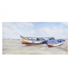 OIL WALL PAINTING CANVAS W_BOATS 120X4X60