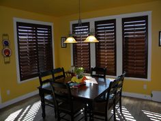 Stained Shutters w/ white casing - Dining