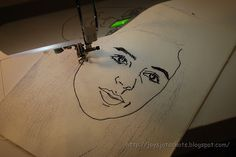 Super cool way to turn a picture into a work of art with a sewing machine