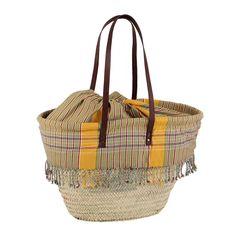 Kbas košík palmový s podšívkou a koženými ramienkami