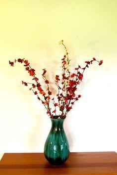 "13 1/4"" Blue Mountain Pottery Green Glaze Vase"
