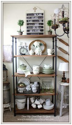 French Farmhouse Spring Breakfast Nook-Bakers Rack- From My Front Porch To Yours