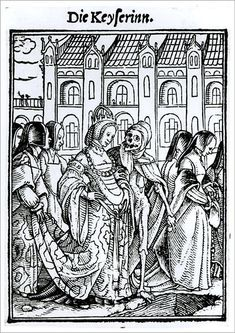 """An A1 poster sized print, approx 23""""x33"""" (841x594mm). XJF143264 Death and the Empress, from The Dance of Death, engraved by Hans Lutzelburger, c.1538 (woodcut) (b/w photo) by Holbein the Younger, Hans (1497/8-1543) (after); Private Collection; German, out of copyright. courtier, danse macabre, finery, mortality, palace, robes, skeleton, train, wife. Image supplied by Fine Art Finder. Product ID:12725181_80444_0 31 Days Of Halloween, Macabre, Cleveland Museum Of Art, Danse Macabre, Historical Painting, Hans Holbein The Younger, Dance Of Death, Art, Woodcut"""