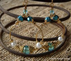 Teardrop Earrings with Glass Pearls, Czech Glass, Gold Tubing and Gold Accents