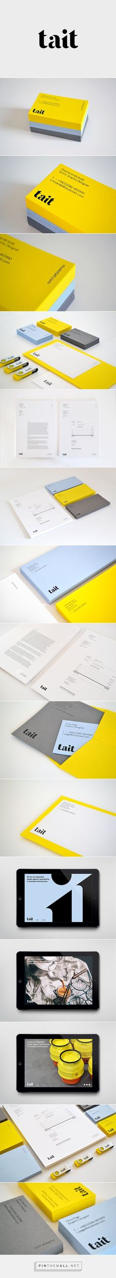 TaitIn we created a new identity for our studio that confidently reflects our vision and aspirations for Tait. The new identity comprises a logo, house typeface, stationery suite and website.Our stationery is as bright and fresh as we feel about… Corporate Design, Brand Identity Design, Corporate Identity, Business Card Design, Branding Design, Visual Identity, Graphisches Design, Book Design, Web Design Mobile