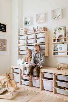 Playroom Design, Playroom Decor, Ikea Kids Playroom, Toddler Playroom, Playroom Closet, Modern Playroom, Toddler Rooms, Playroom Ideas, Trofast Ikea