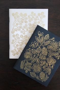 Gold foil nature fern notebooks for traveling.