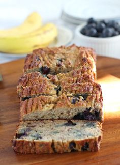 Banana Blueberry Breakfast Bread that's perfectly soft and moist, plus Paleo, dairy free, grain free, nut free and oil free. Great for breakfast or snack.