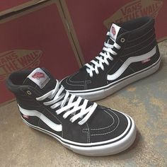 We just got in a fresh batch of the Sk8-Hi Pro from Vans! This is the classic sk8-hi that you know and love in a beautiful black and white color way with the premium pro classic features which include pro lite waffle construction, ultra Cush HD insoles, extra padding and support, dura cap toe rubber, and a more slim profile. Get them now! Would make a great Christmas gift!