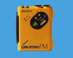 Here's the yellow sports one. It was sort of the designer one because it was more expensive. I always had generic walkmans, never a real Sony.