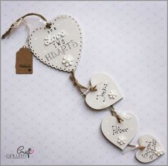 ...Made by CraftGallery...Personalised heart plaque. One love two hearts with names and date, wedding gify, anniversary gift, engagement gift, wall decorations, wall plaque