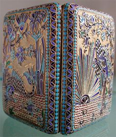 Faberge Silver Plique-a-Jour Cigarette Box