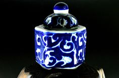 Antique Small Arita-ware Incense Burner with Sometsuke Design - For gift - Ginkgo pattern by JapaVintage on Etsy