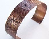 Floral etched copper cuff