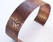 Floral etched copper cuff